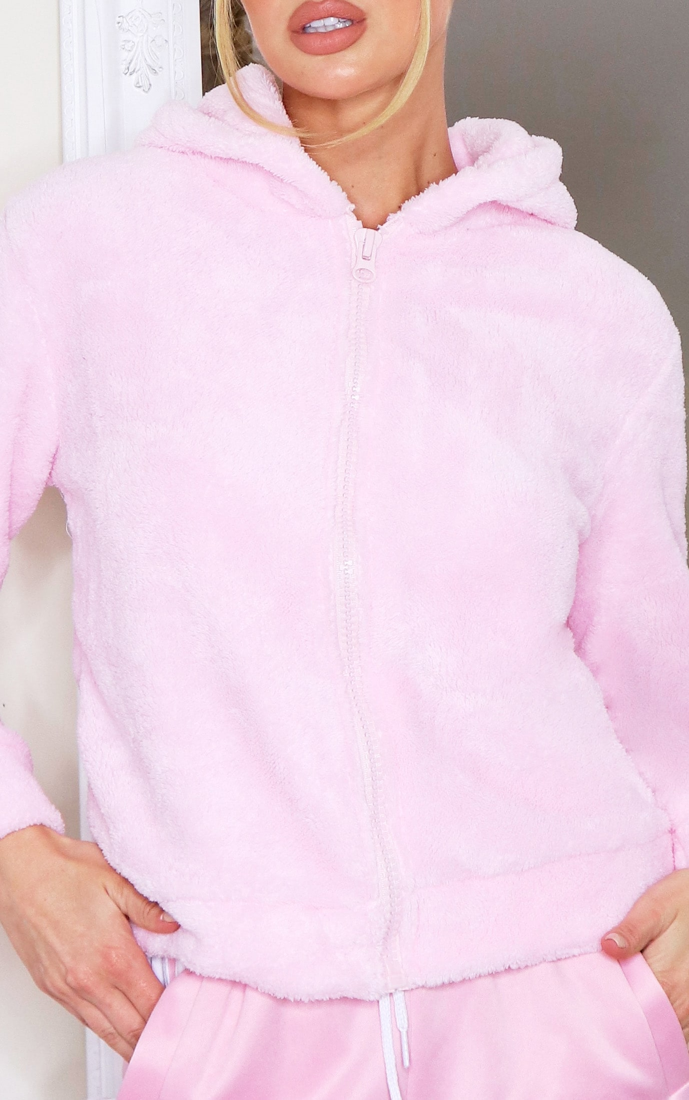 Baby Pink Borg Zip Up Hoodie 4