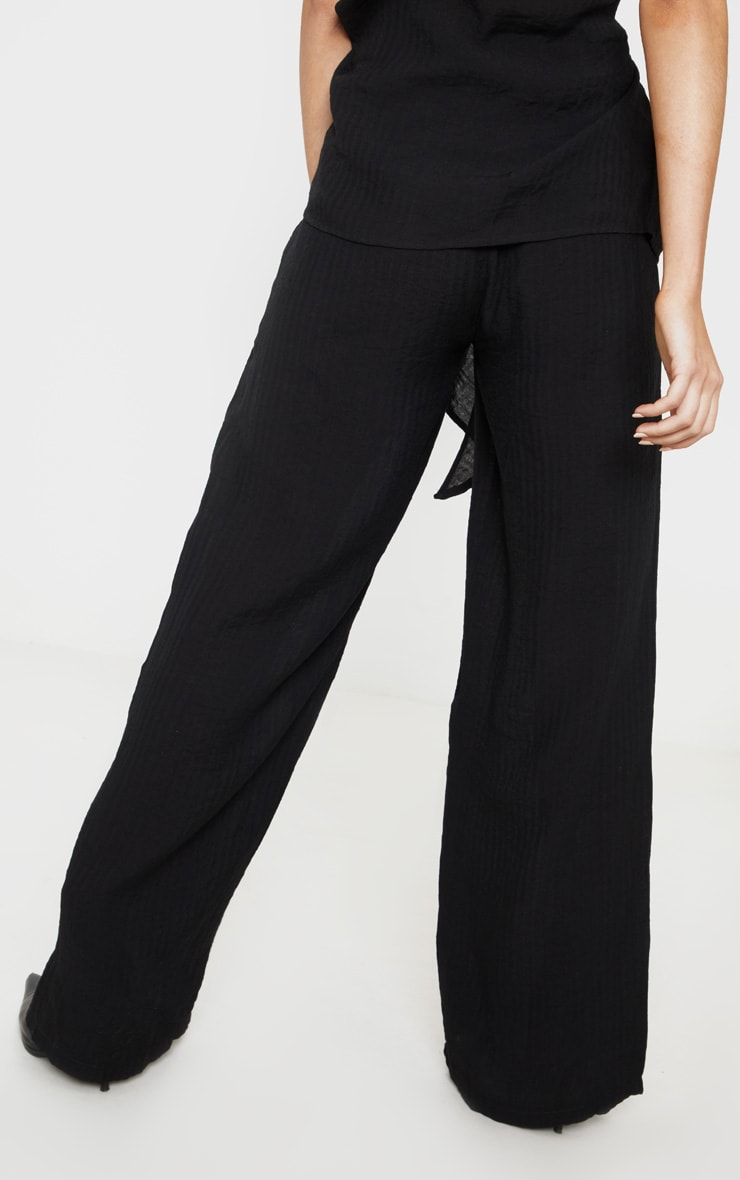 Black Cotton Wide Leg Trouser 4