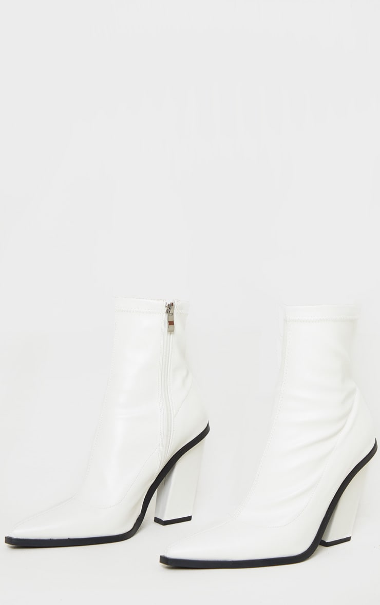 White Point Toe Block Heel Ankle Boot 3