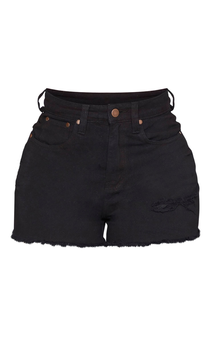 Shape Black Denim High Waist Mom Shorts 3