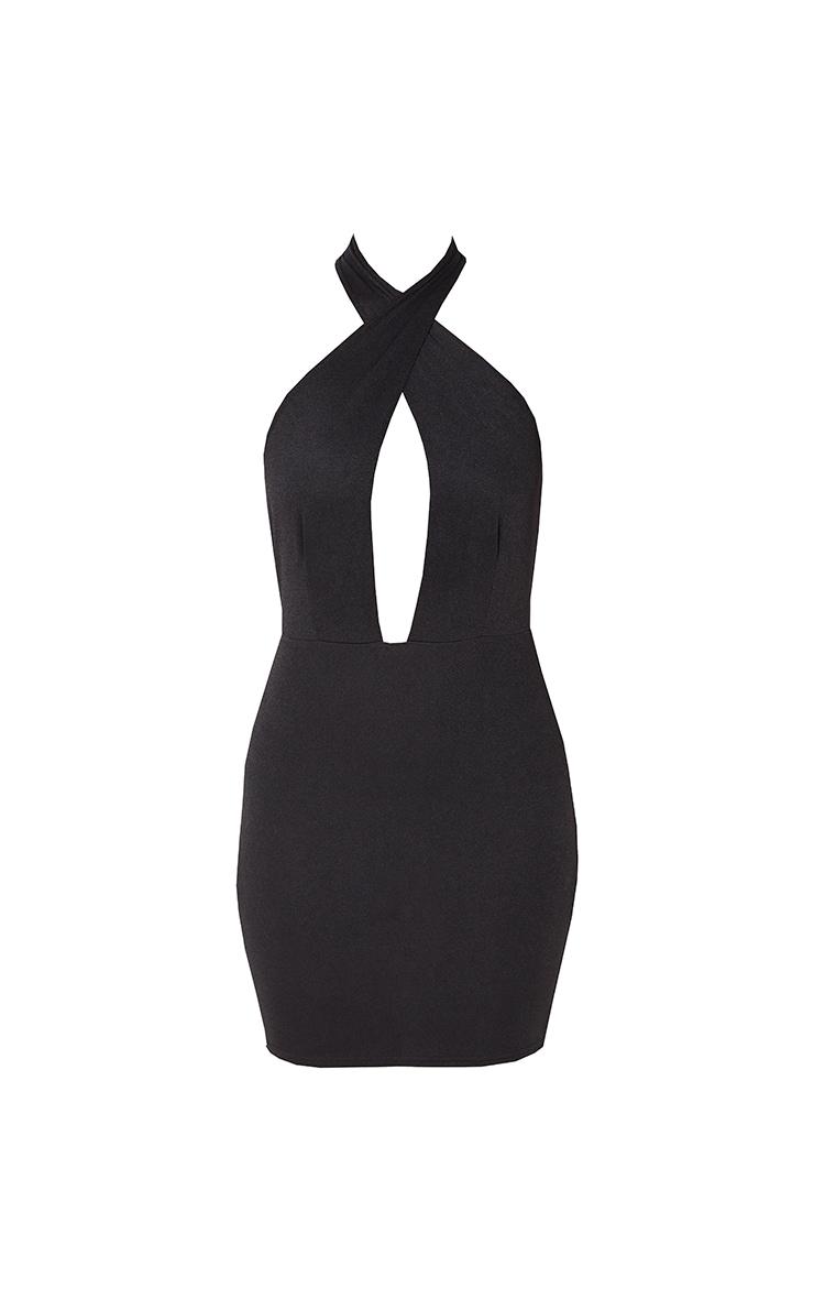 Black Cross Neck Bodycon Dress 6