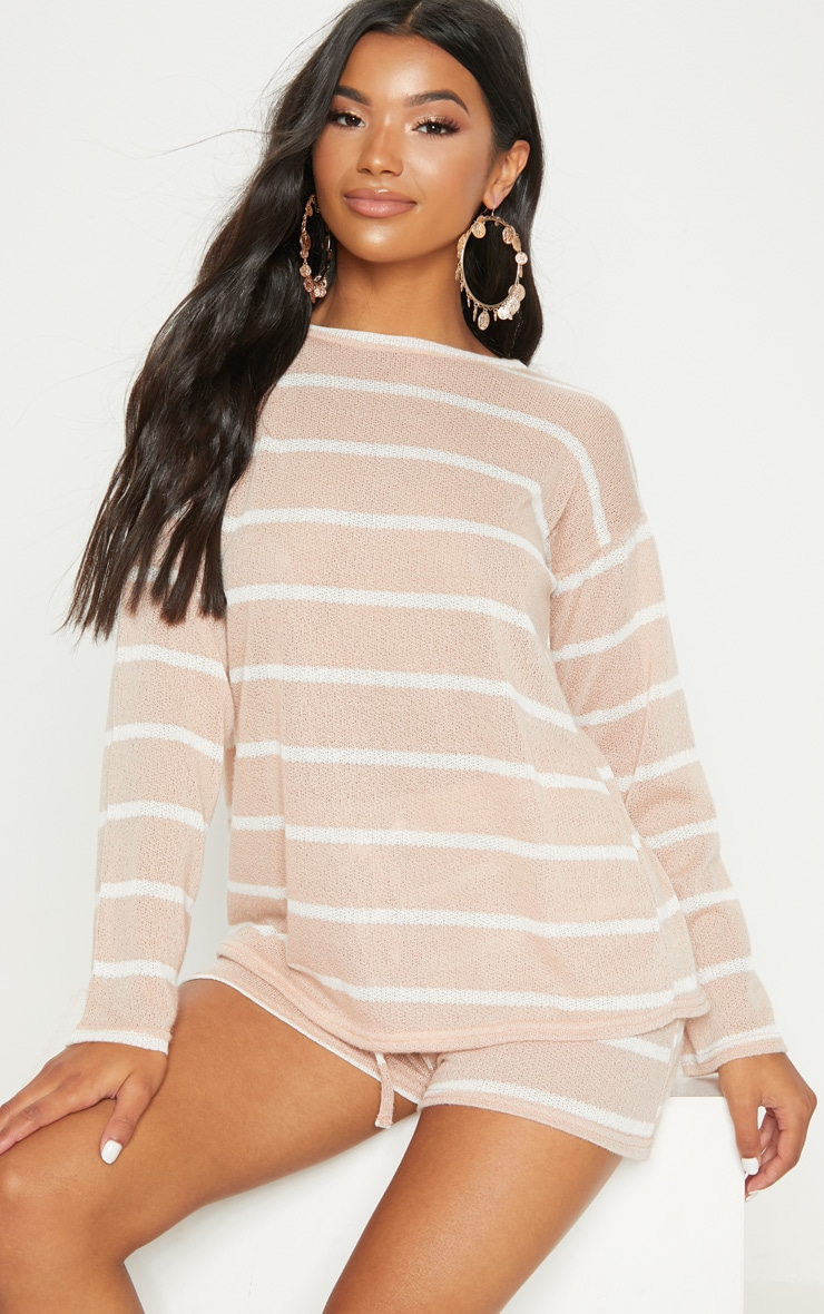 Sand Lightweight Knit Tie Back Top 2