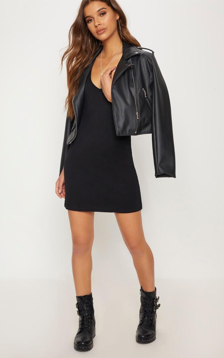 Basic Black Plunge V Neck T Shirt Dress 4