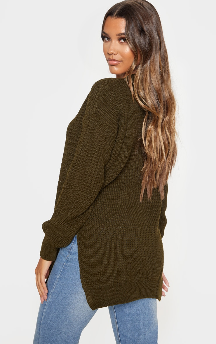 Dark Khaki Round Neck Side Split Sweater 2
