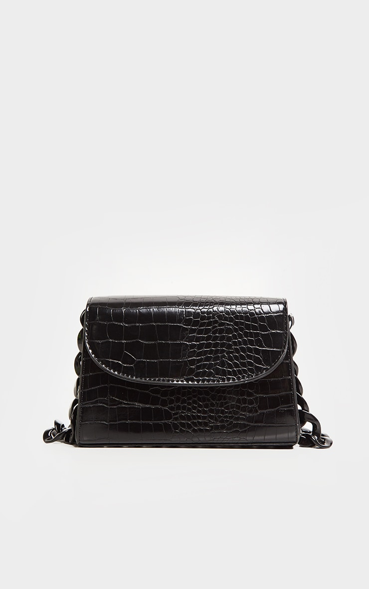 Black Croc Chunky Chain Shoulder Bag 2