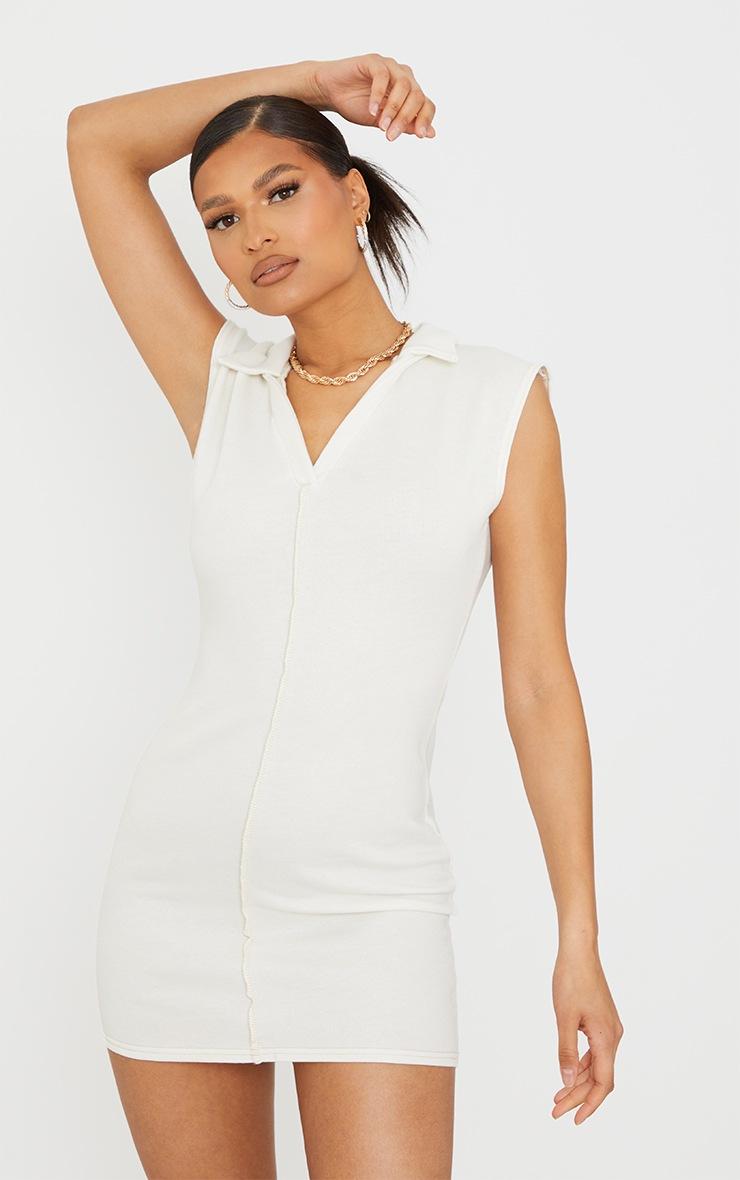 Cream Contrast Binding Collar Detail Sleeveless Bodycon Dress 3