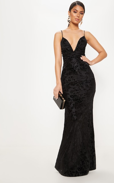 bd7a252bbb3490 Black Printed Velvet Knot Front Maxi Dress