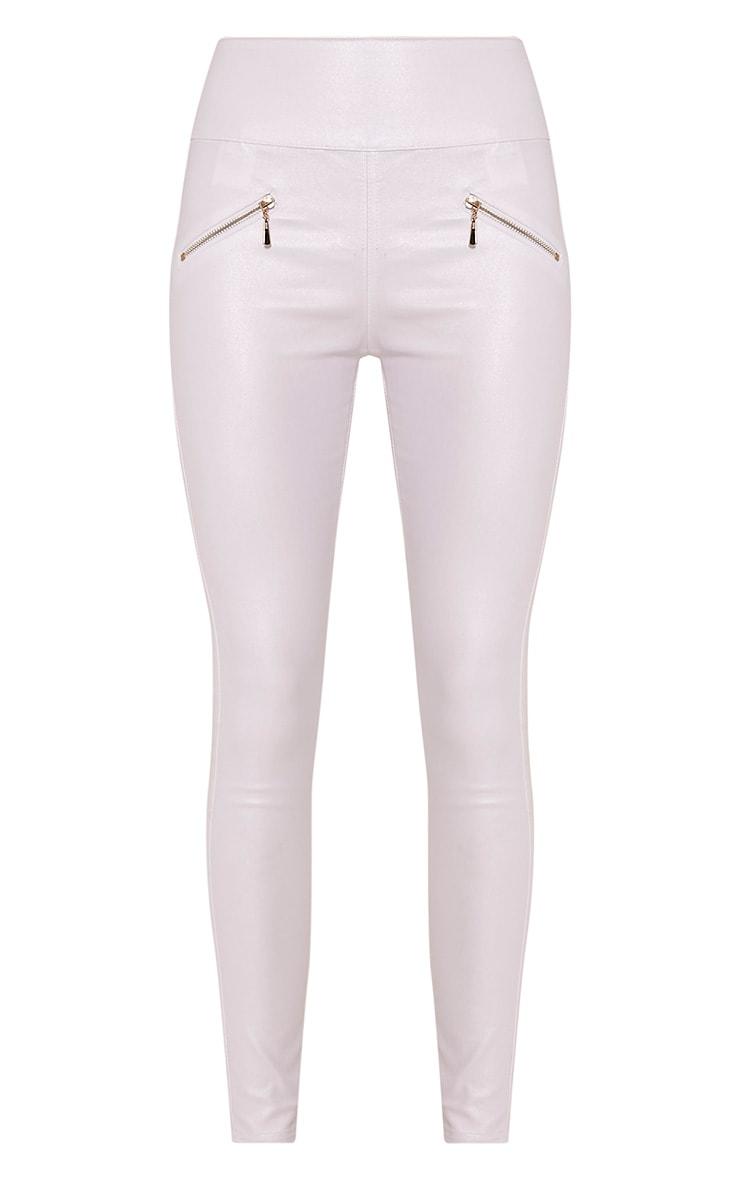 Jamima White Zip Back Super Skinny Coated Trousers 3