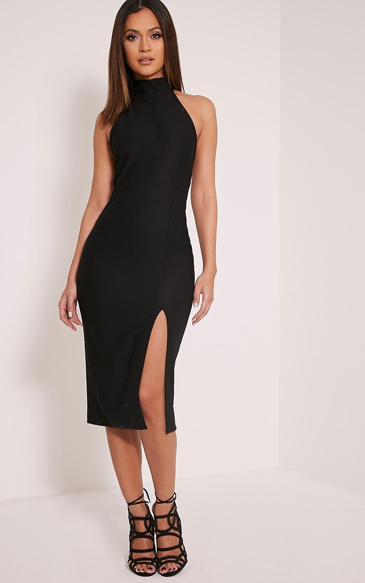 Trina Black High Neck Split Front Midi Dress 4