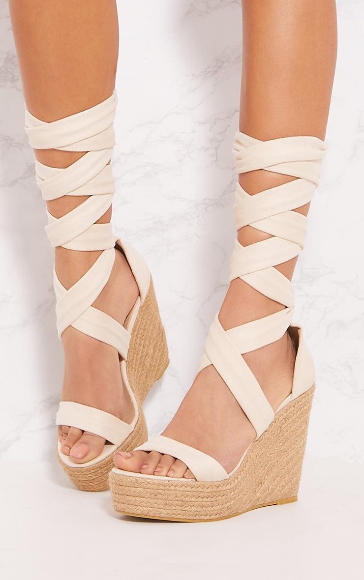 Nude Leg Wrap Espadrille Wedge Sandal 2