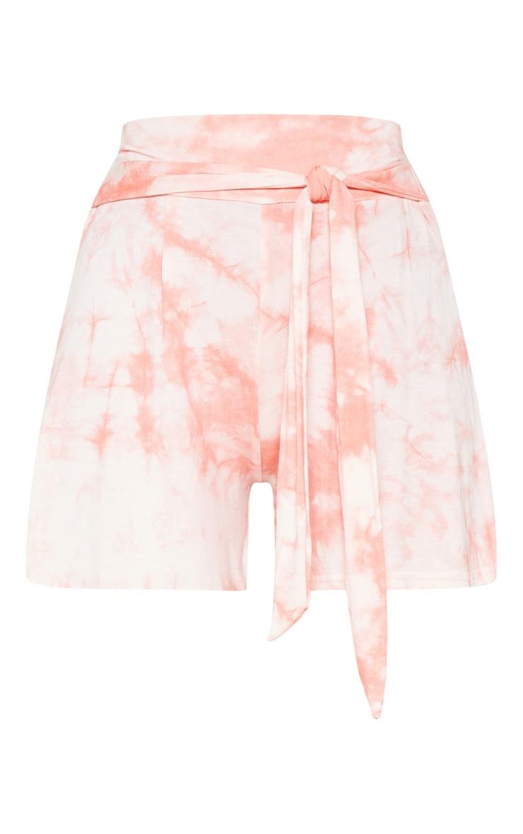 Coral Tie Dye Tie Waist Short 3