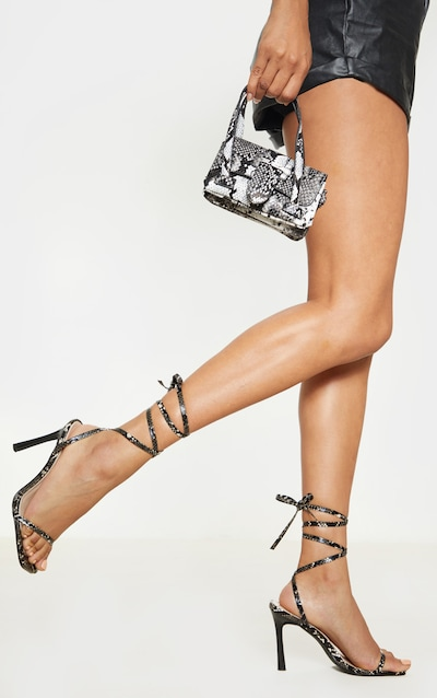 00480a2249eea Snake Print Square Toe Ankle Lace Up Strappy Sandal. More colours available
