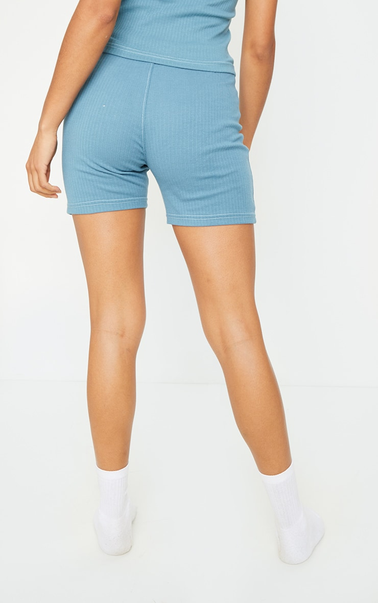 Petrol Blue Structured Rib Seam Detail Shorts 3