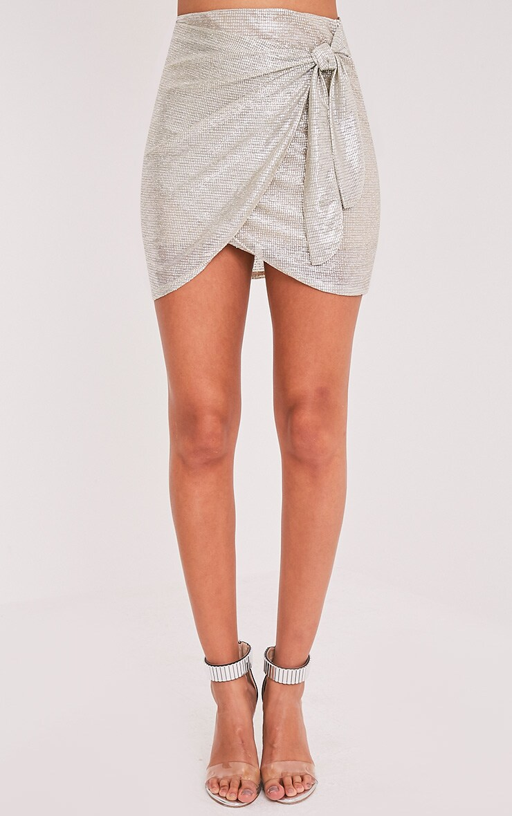 Josefina Silver Wrap Tie Metallic Foil Mini Skirt 2