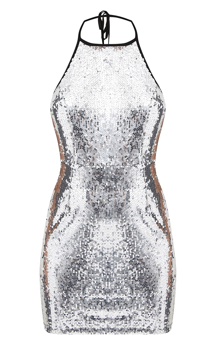 Silver Sequin Front Bodycon Dress 3