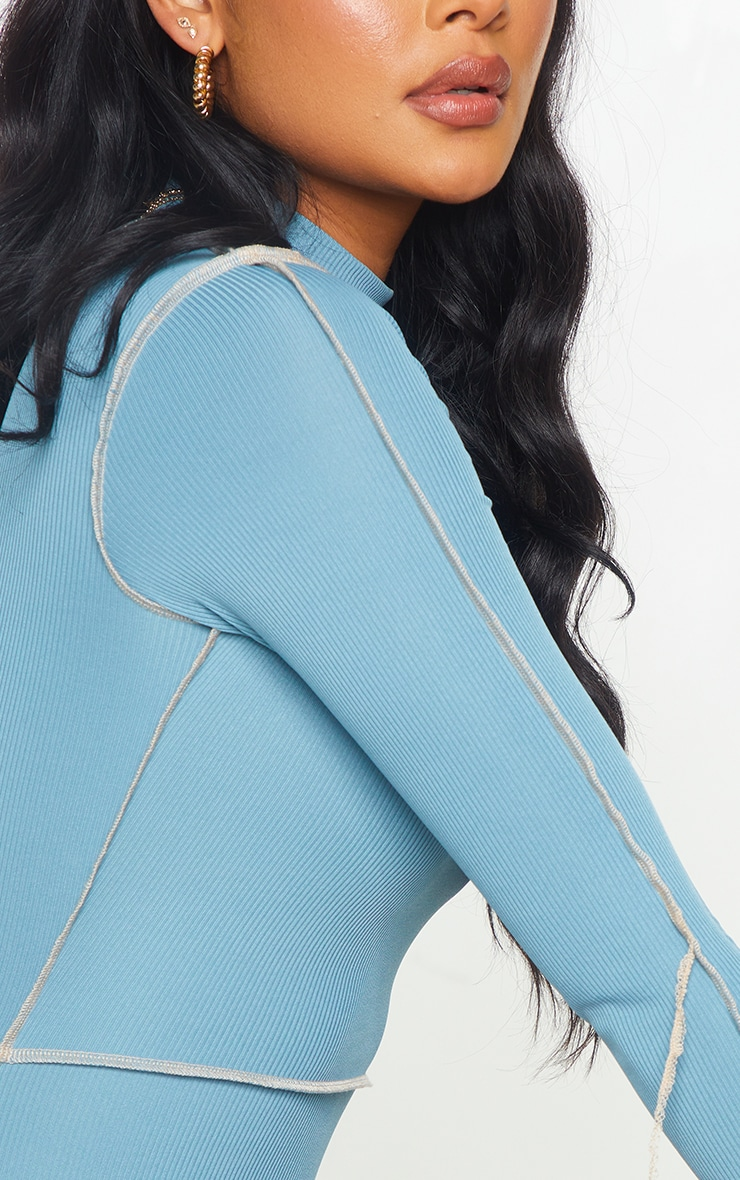 Mineral Blue Ribbed Overlock Stitch High Neck Long Sleeve Bodycon Dress 4