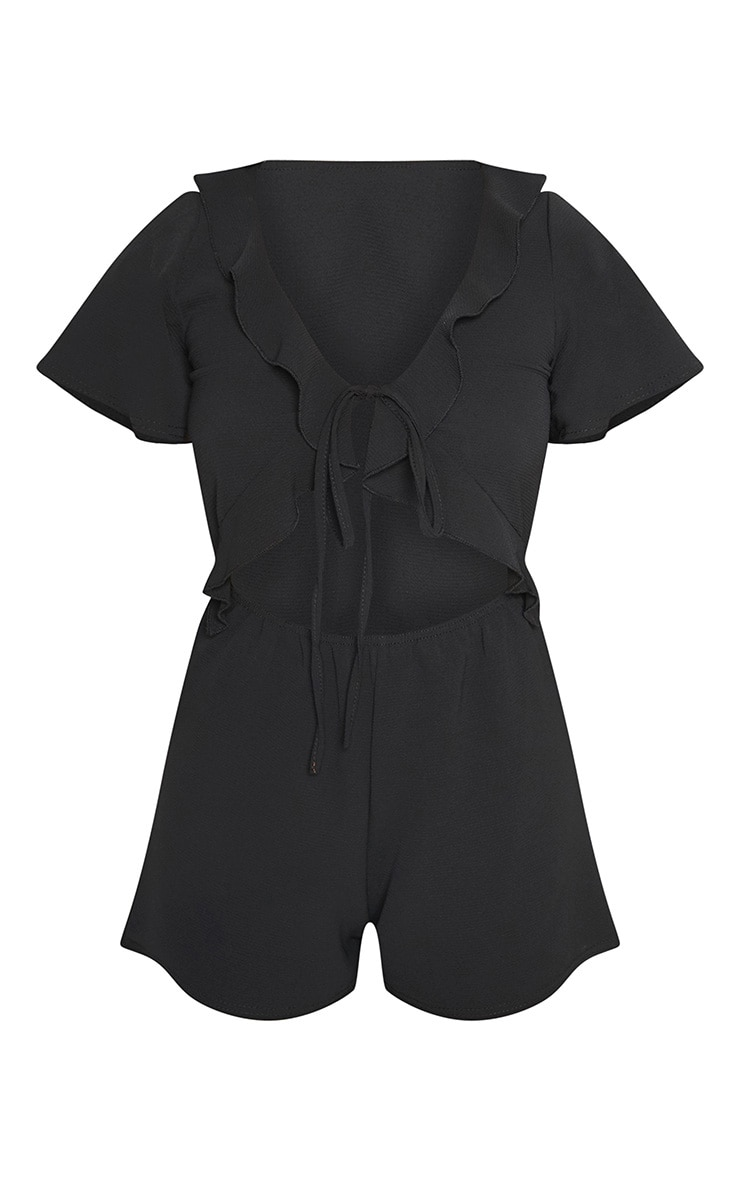 Petite Black Short Sleeve Frill Tie Front Playsuit 3