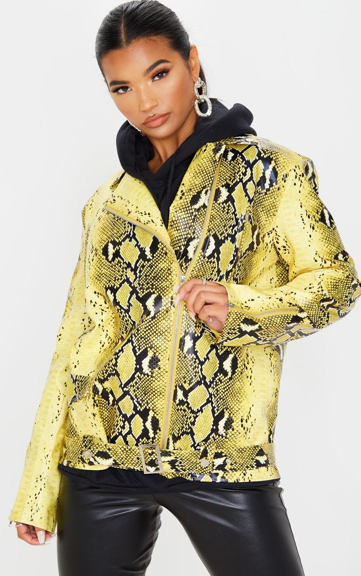 Yellow Snake Print Faux Leather Biker Jacket 4