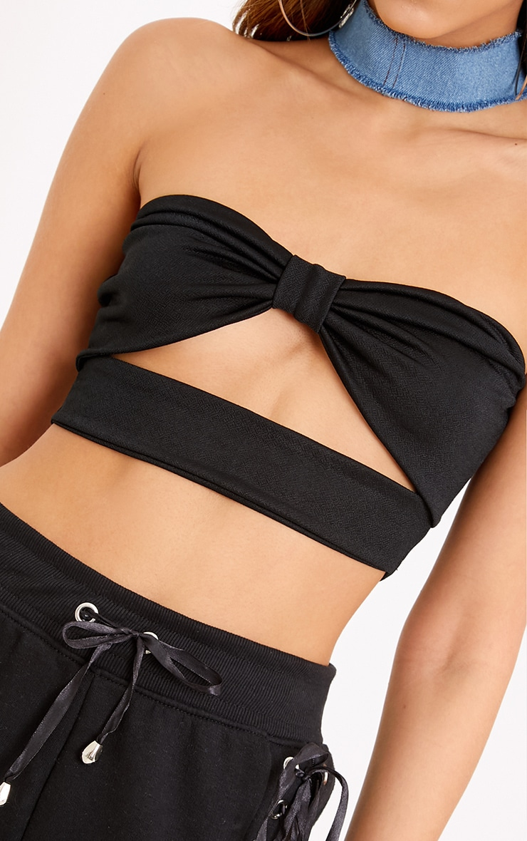 Dassia Black Bow Front Cut Out Bandeau 5