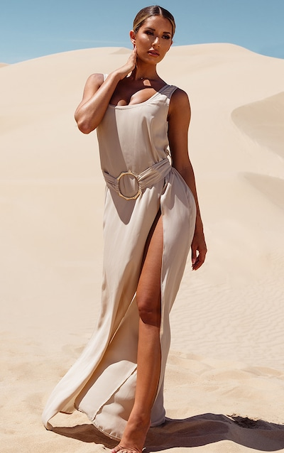 Stone Bamboo Ring Belted Maxi Beach Dress