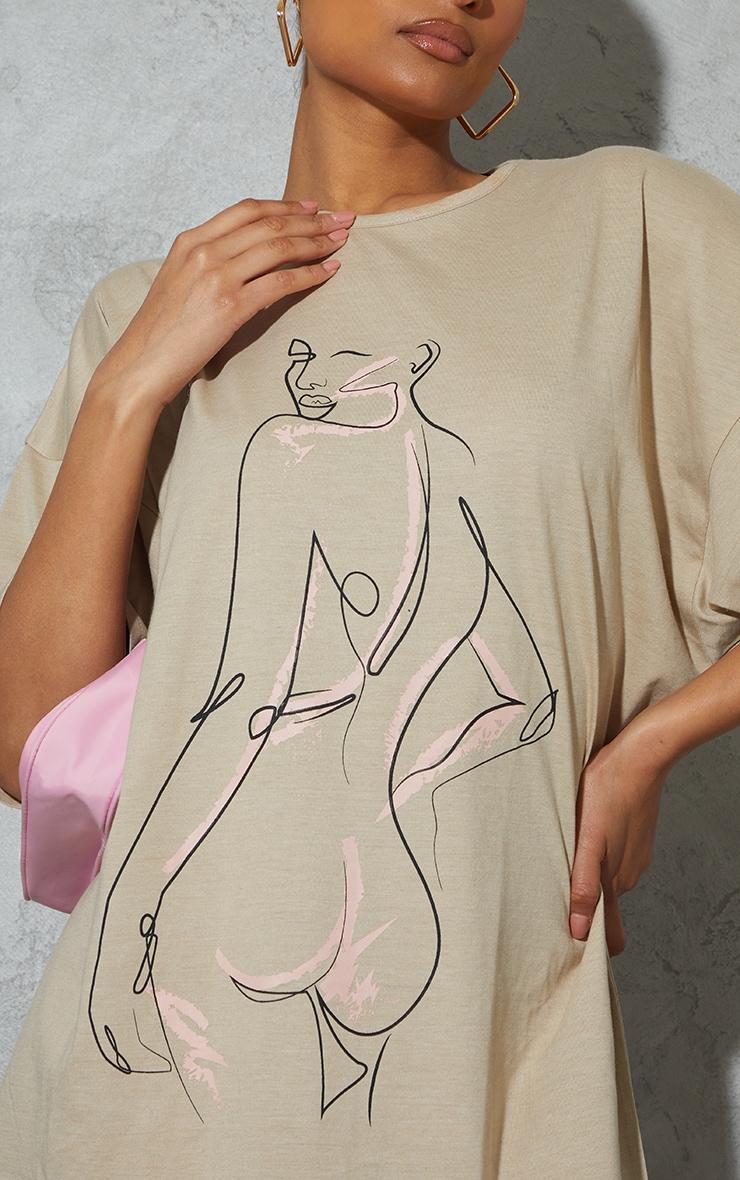 Stone Figure Illustrated Oversized T Shirt Dress 4