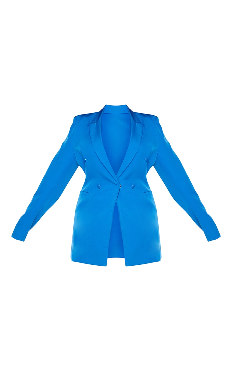 Plus Blue Double Breasted Woven Blazer 5