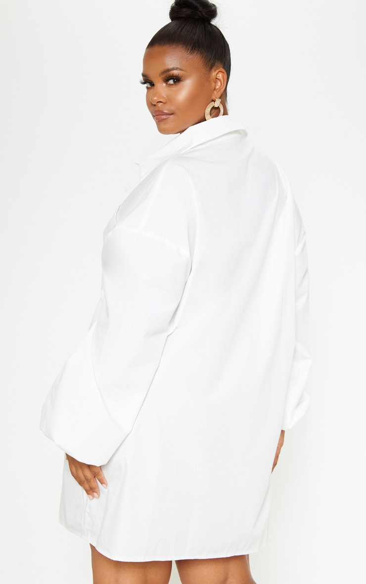 Plus White Oversized Puff Sleeve Shirt Dress 2