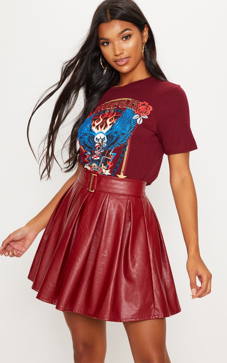 Burgundy Belted Faux Leather Pleated Mini Skirt 5
