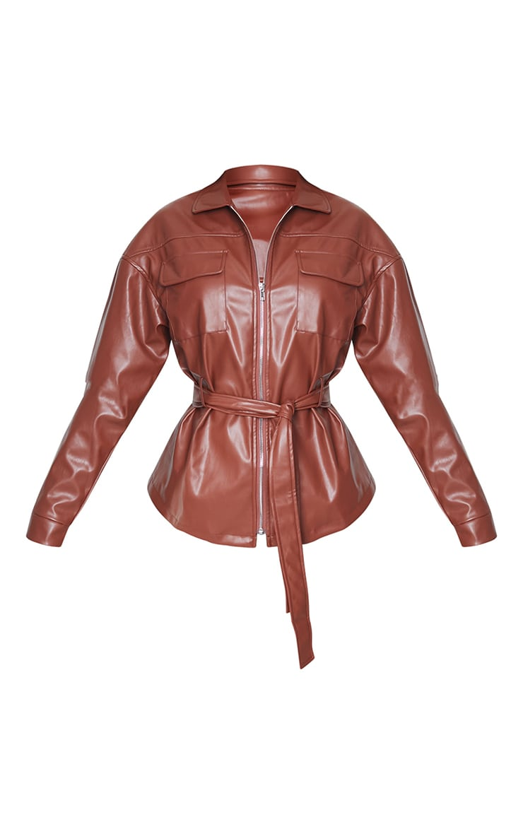 Tall Chocolate Faux Leather Belt Detail Jacket 5