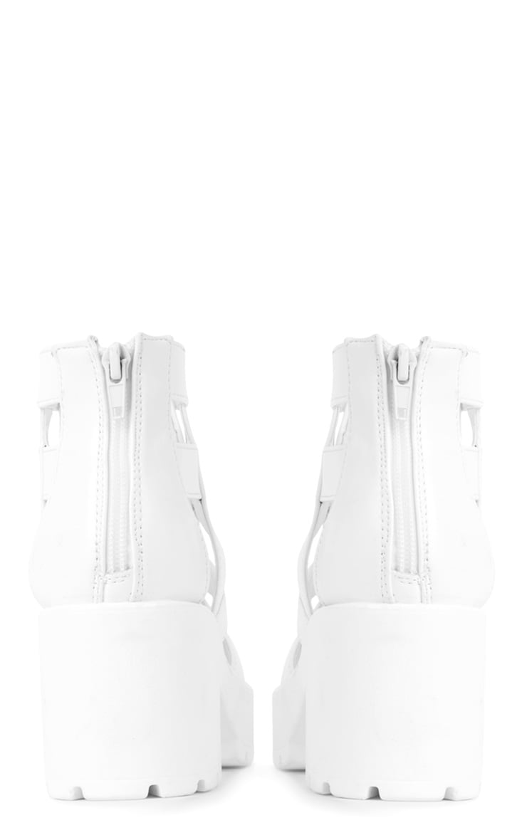 Nita White Cut Out Chunky Lace Up Boots 2
