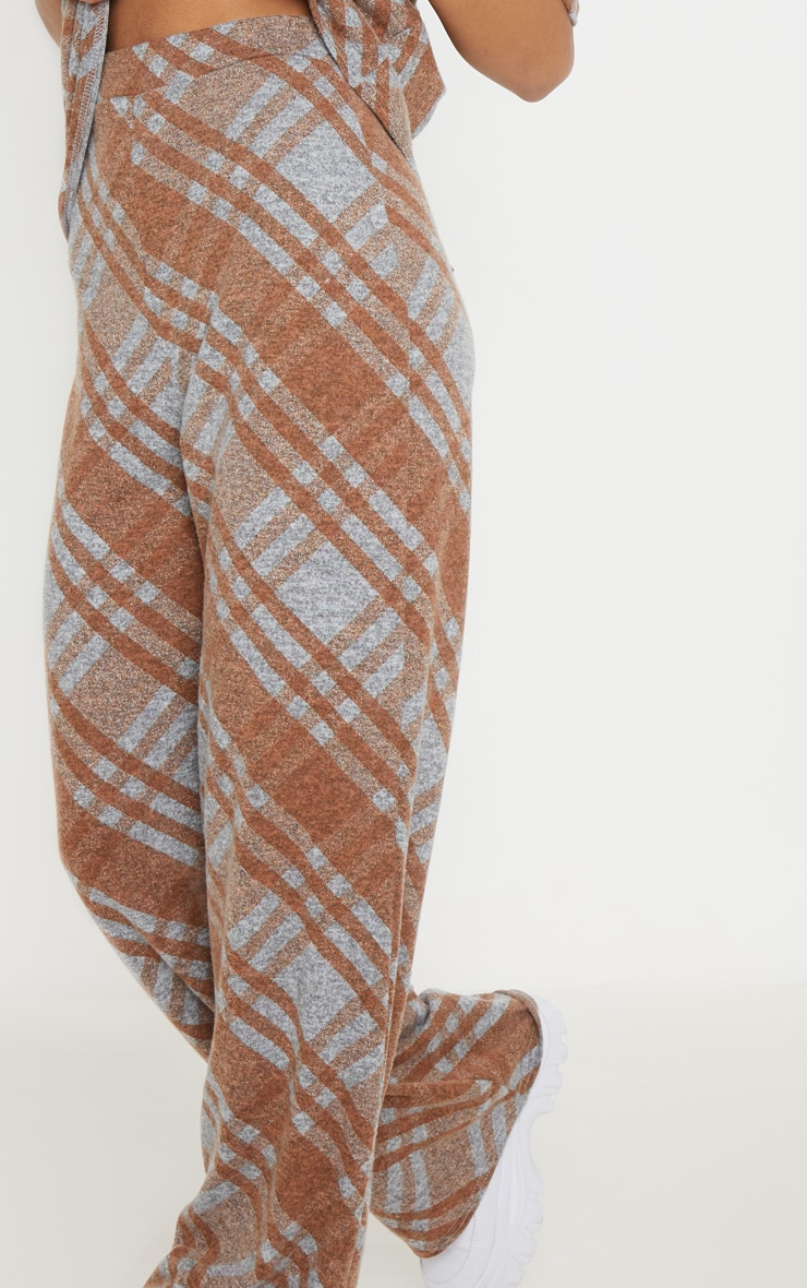 Grey Knitted Checked Flared Pants  5