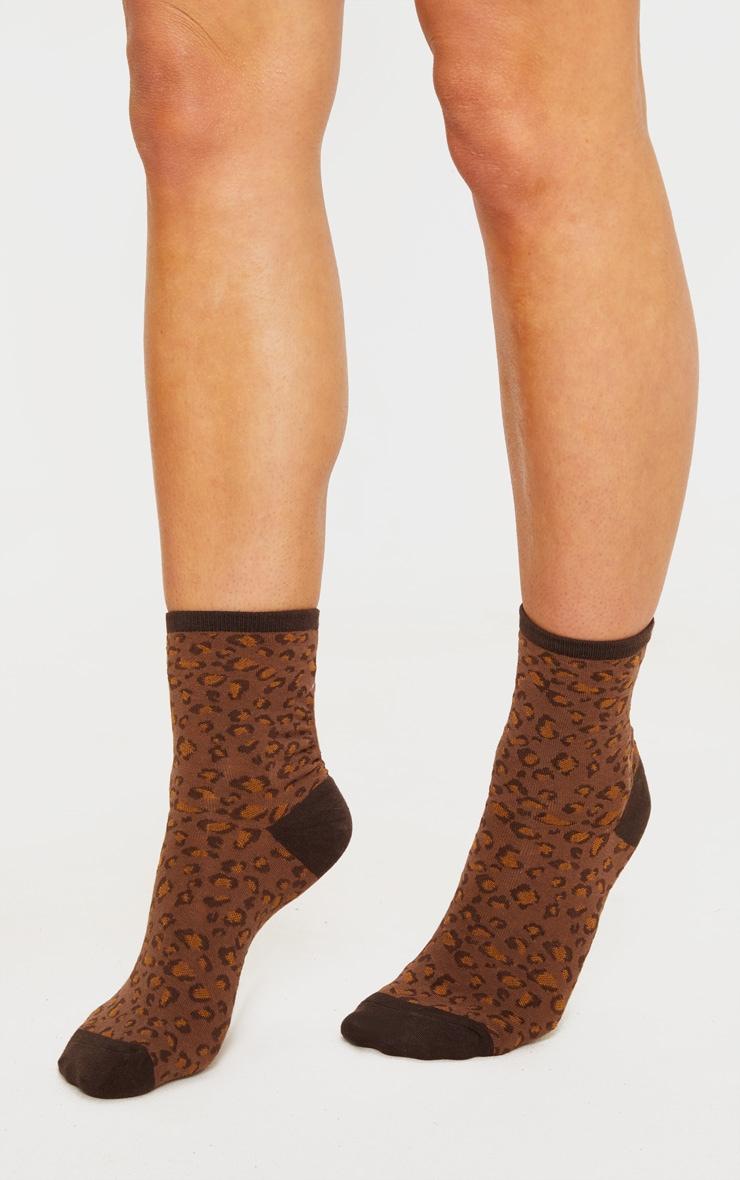 Brown Leopard Socks 1