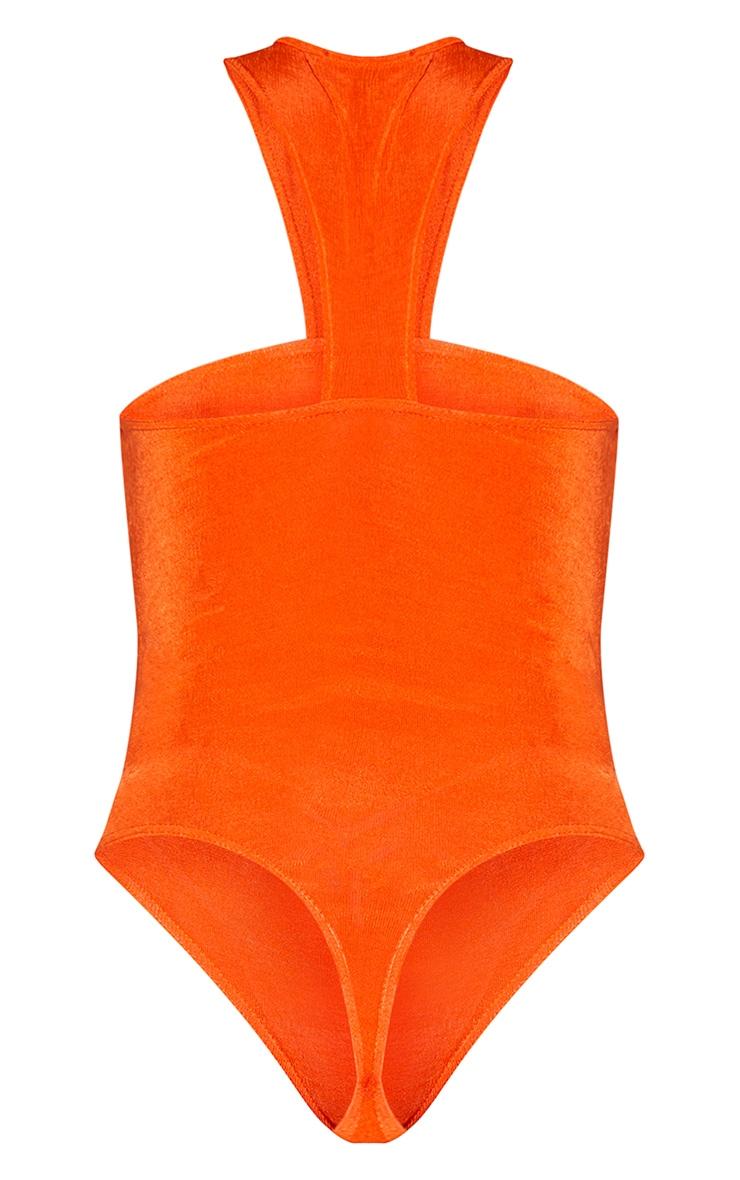 Hot Orange Acetate Slinky Cut Out Neck Bodysuit 6