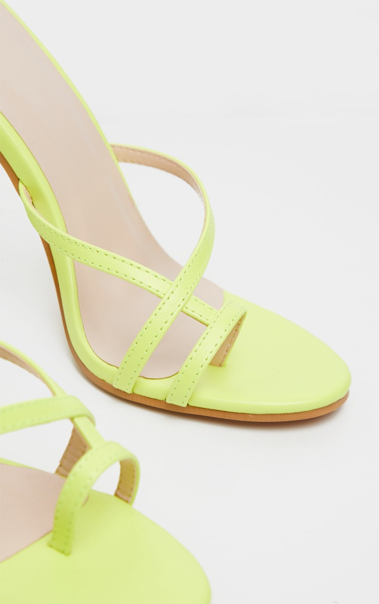 Neon Yellow Toe Loop Heeled Sandal 4