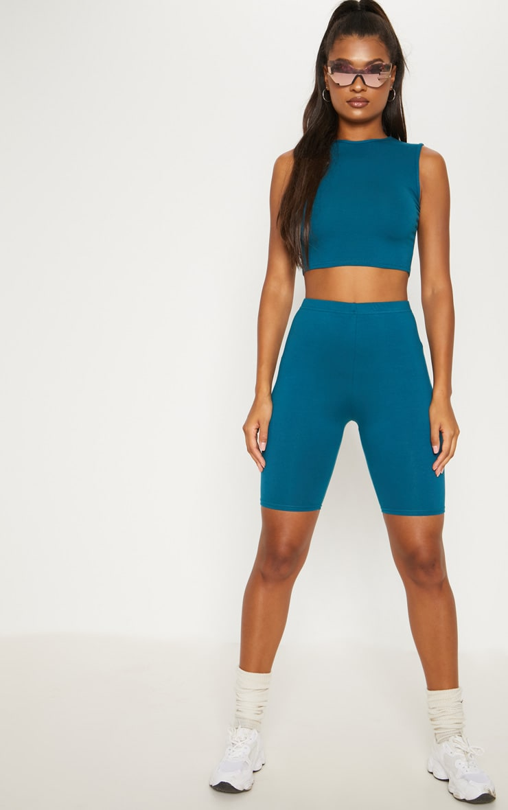 Teal Cotton Stretch Cycling Shorts