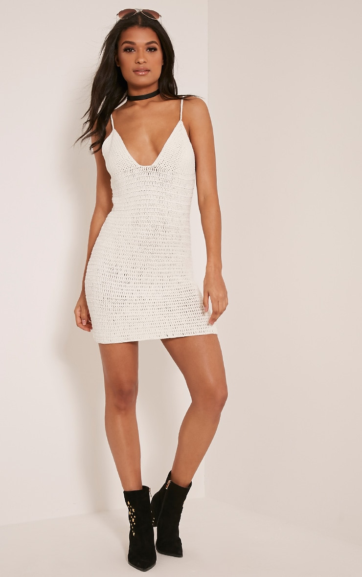 Rosally Cream Crochet Mini Dress 5