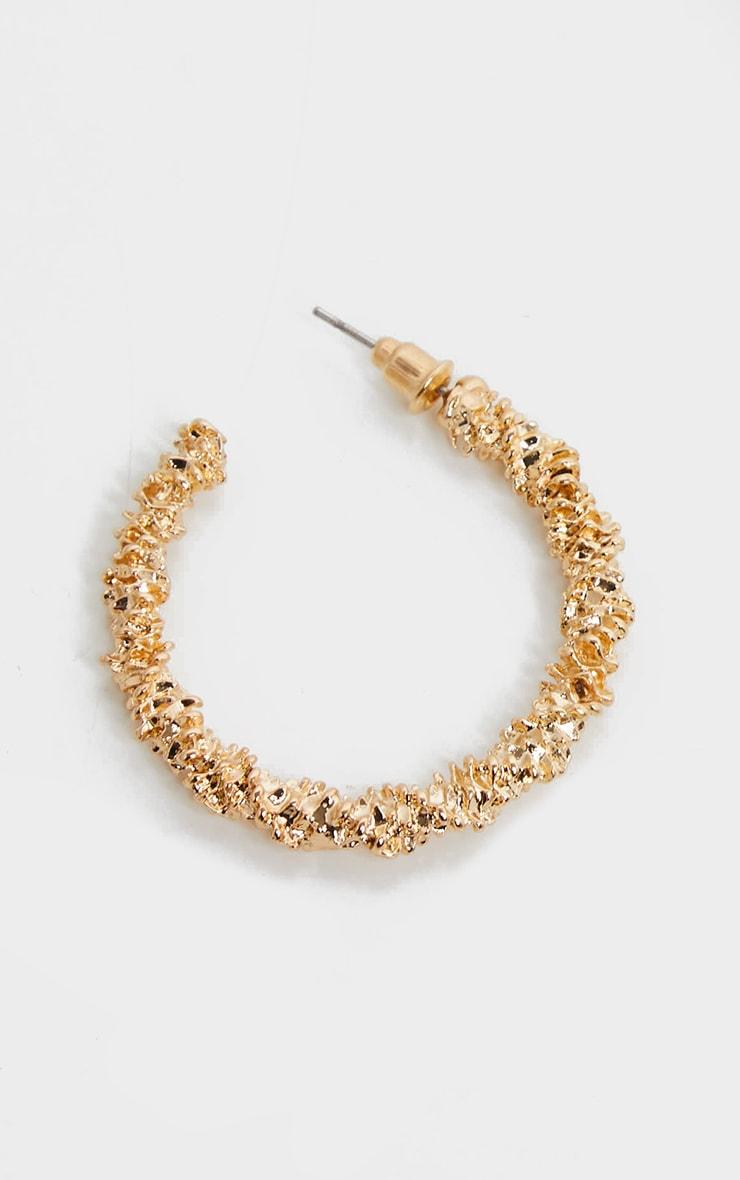 Gold Medium Texture Hoop Earrings 2