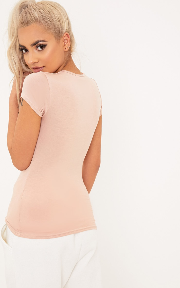 Basic Nude Crew Neck Fitted T Shirt 2