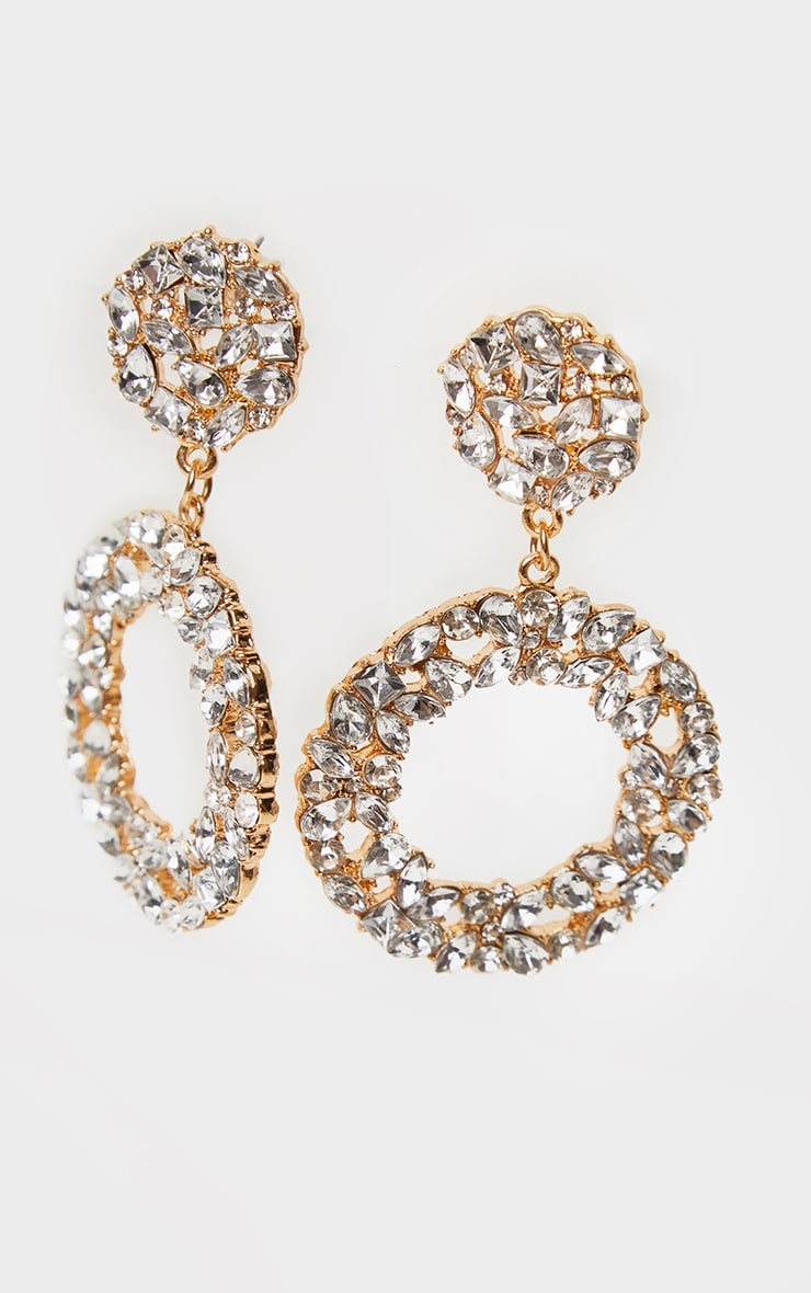 Gold Stone Cluster Ring Drop Earrings 2