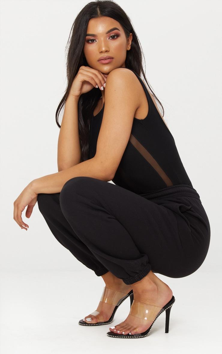 Black Stripe Mesh Scoop Back Thong Bodysuit 5