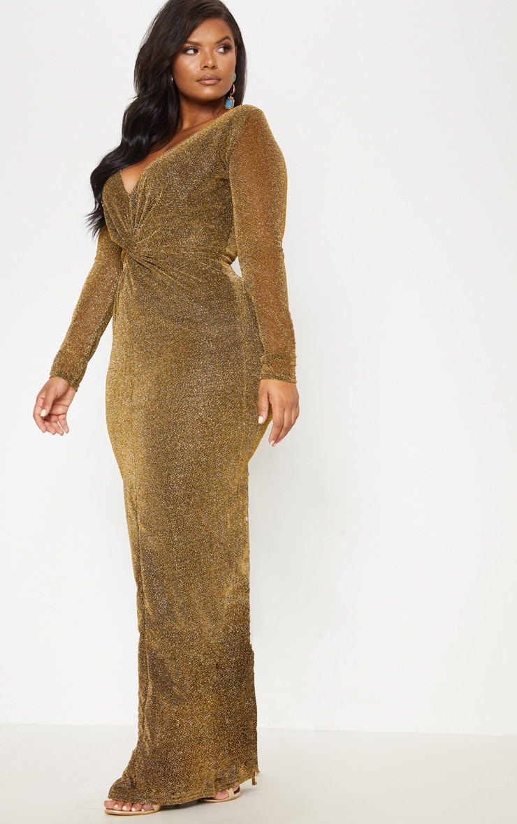 Gold Textured Glitter Plunge Knot Detail Maxi Dress 5