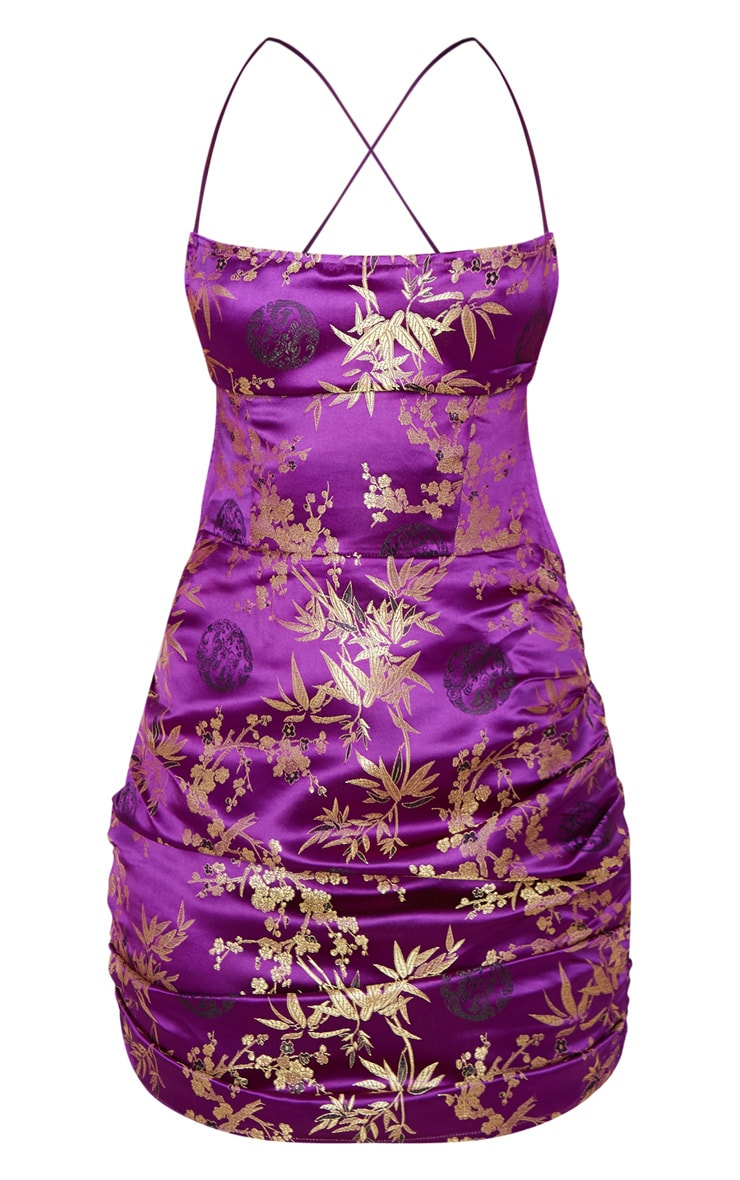 Purple Jacquard Floral Strappy Back Ruched Bodycon Dress 3