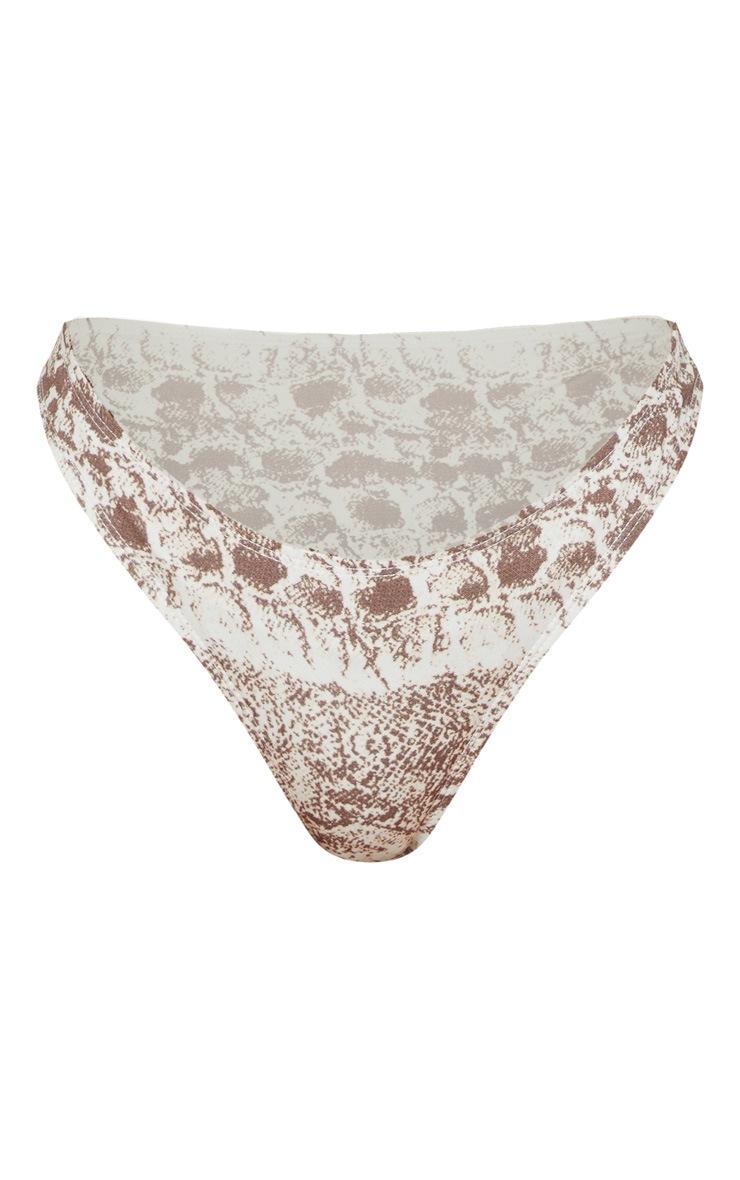 Brown Snake Print High Leg Bikini Bottom 3