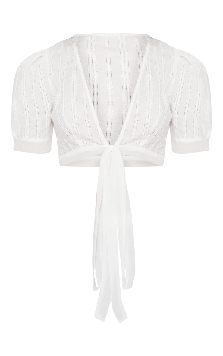 White Broderie Anglaise Tie Front Crop Top 3