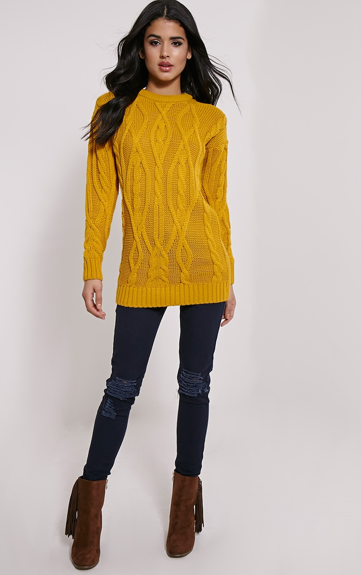 Moon Mustard Cable Knit Mid Jumper 3