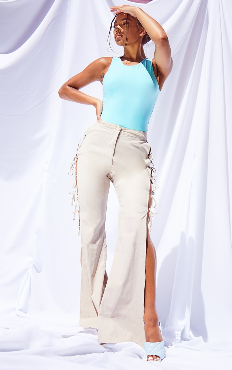 Stone Lace Up Detail Flared Pants 1