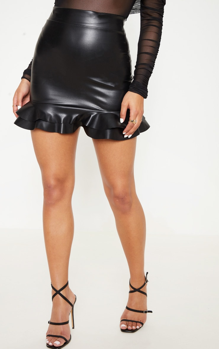 Black Faux Leather Frilled Hem Mini Skirt 2