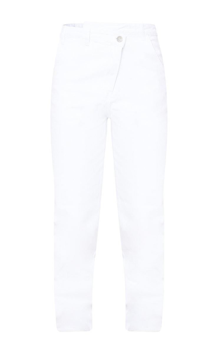 White Asymmetric Waistband Jeans 5