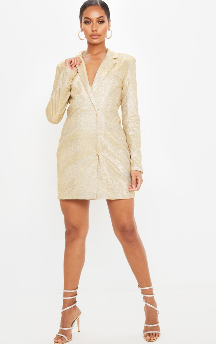 Gold Textured Glitter Blazer Dress 4