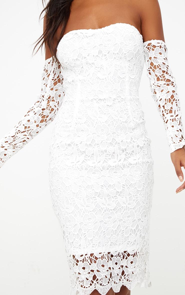 White Lace Bardot Long Sleeved Midi Dress 5